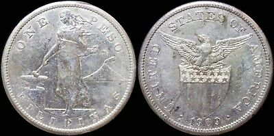 1909-S US/Philippines Peso ~ XF Details ~ Allen#17.04 ~ 80% Silver ~ J326