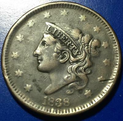 1838 Coronet Head Large Cent Very Fine + Details