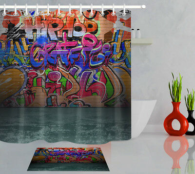 Urban Street Colorful Graffiti Wall Waterproof Shower Curtain Fabric Set Liner