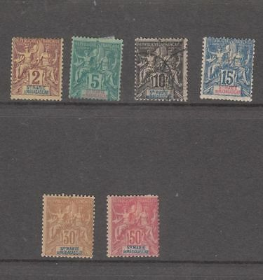 oldhal-Ste Marie de Madagascar- Lot of 6 Very Good Stamps/mint/Used