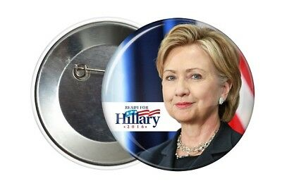 Badge Pin Button 38 mm Ready For Hillary Clinton 2016