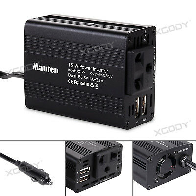 150W/300W Car Power Inverter DC 12V to 220V AC Converter with  Dual USB Charger