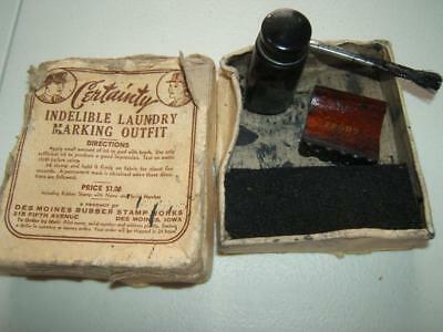Vintage Ww2 Us Soldier's Laundry Marking Kit W/ Box Des Moines Rubber Stamp Co.