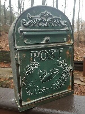 Vintage Chic Shabby Rustic GREEN Metal Bird House Mailbox~French Letter Post box