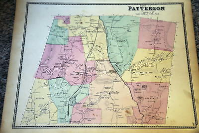1867 Rare Beautiful Antique Beers Atlas Map-Patterson, New York-Handcolored Ii