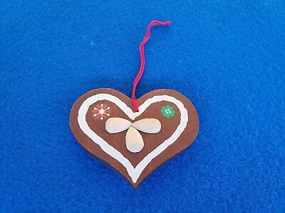 Vintage Steinbach Gingerbread Cookie Heart Germany Wooden Christmas Ornament