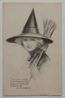 Antique 1912 Halloween Postcard Cute Witch Broom Hat AS Signed Gibson Fairman Co