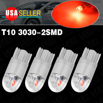 4X Pure Red T10 3030 2-LED High Power Dome Map Interior Light Bulb W5W 168 194