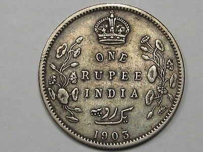 1903 British India One Rupee Silver Coin. King Edward VII.  #11