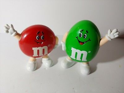1991 Green & Red Peanut M&m Character Waving Candy Dispensers