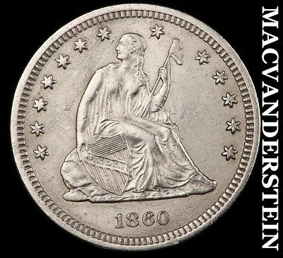 1861 Seated Liberty Quarter- Semi-Key !! Almost Uncirculated !! #h6338