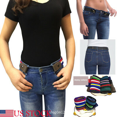 US Fashion Buckle-free Elastic Women Men Invisible Belt for Jean No Bulge Hassle