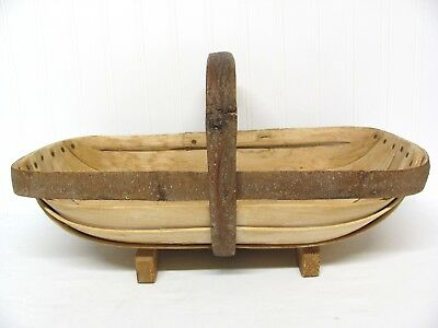 """AUTHENTIC HANDMADE 18"""" WOODEN FOOTED TRUG BASKET with EXPOSED BARK EDGING"""
