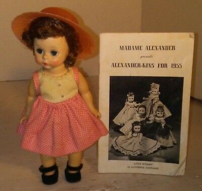 "Vintage Madame Alexander Wendy SLW 8"" Doll AND 1955 ALEXANDER-KINS CATALOG RARE"