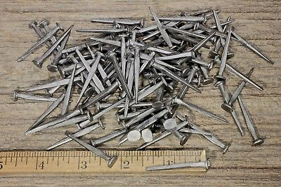 "1 1/2"" BRAD NAILS 100 lot antique square wrought iron look round flat heads 1.5"""