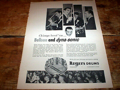 ROGERS DRUMS Dyna Sonic ( featuring LOUIS BELLSON ) 1962 Vintage magazine Ad NM-