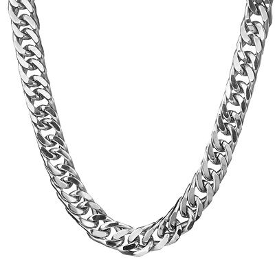 "17mm 24"" Men's Stainless Steel Silver 316L Curb Link Chunky Chain Necklace"