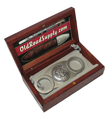US Army Silver Logo Stainless Steel Cigar Cutter Carry Pouch w Mini Humidor!