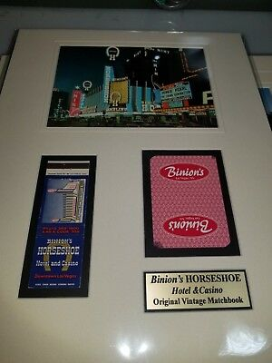 Las Vegas Binions Horseshoe Casino Matted Display Vintage Matchbook And Card