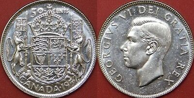 Brilliant Uncirculated 1952 Canada Silver 50 Cents