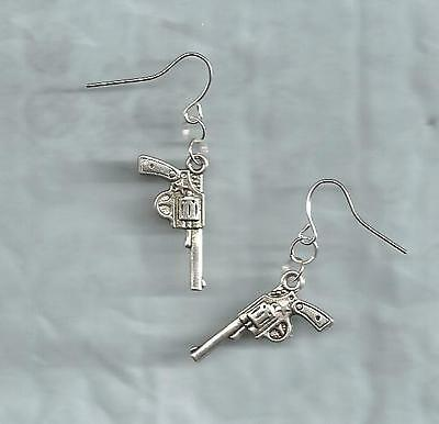 Guns/Pistols earrings-double-sided solid silver metal charms, drop/dangle/hook