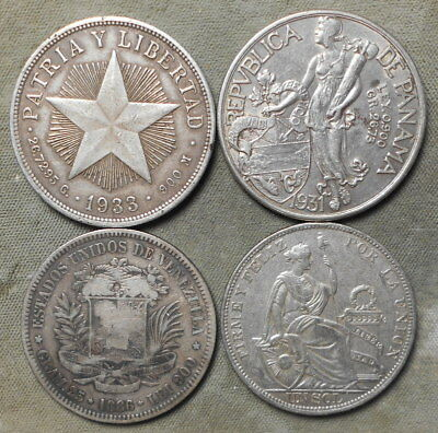 4 Different Caribbean - Central & South American Silver Crowns 1886 - 1933