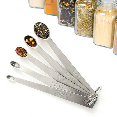 5pcs Mini Stainless Steel Herb Spice Measuring Spoon Set Kitchen Tools Gadget