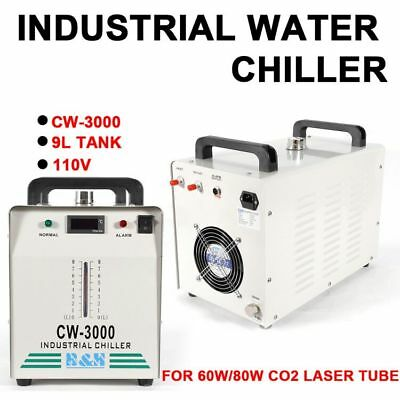 9L Tank 110V CW-3000 Industrial Water Chiller for 60W/80W CO2 Glass Laser Tube