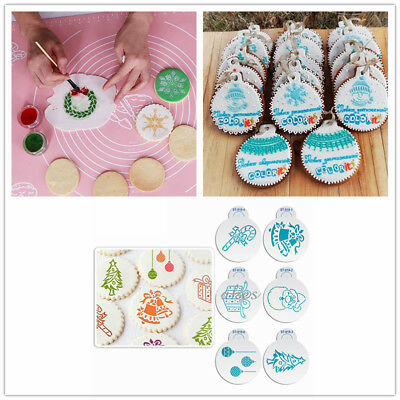 6Pcs/Set Christmas Theme Stencils Template for Cookies Biscuit Cake Decor Molds