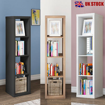 4 Tier Storage Display Shelving Unit Bookcase Cabinet Cube Shelves Rack Wooden