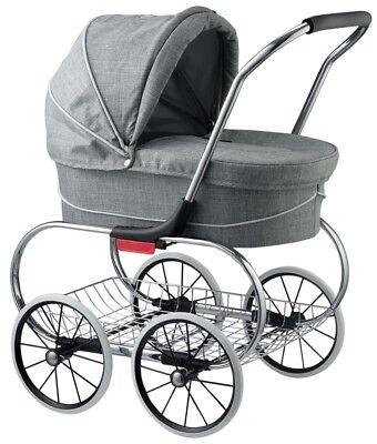 Valco Baby Classic Bassinet Doll Stroller Pram Kids Play Grey Marle NEW