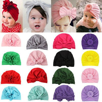 Newborn Toddler Kids Baby Girls Turban Cotton Beanie Hat Cap Headwear Headband
