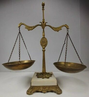 Antique Balance Scale Justice Law Brass Marble Marked AB Dragon Rare Vintage