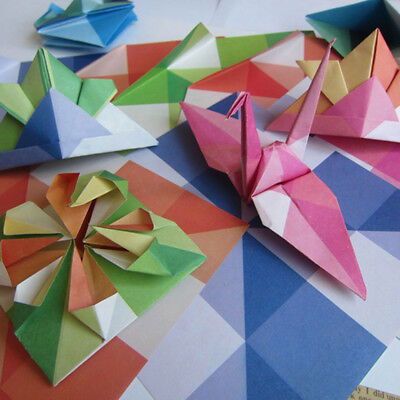24pcs Grid Pattern Square Folding Paper Origami Single Sided DIY Crafts Z
