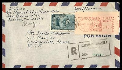 Venezuela Caracas Jun 5 1951 Postage Paid Registered Cover To Collegeville Pa Us