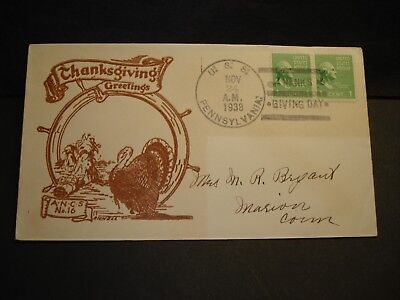 USS PENNSYLVANIA BB-38 Naval Cover 1938 RICHELL THANKSGIVING Cachet