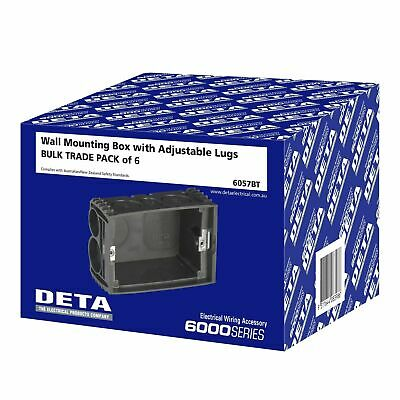 DETA Wall Mounting Box With Adjustable Lugs - 6 Pack X 2 Total 12 - UK Brand