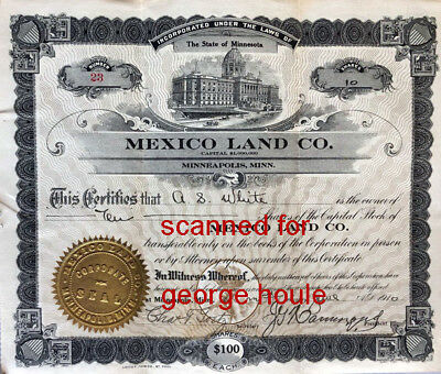 Mexico Land Co - 1910 - Stock Certificate - Dow Co. - St. Paul, Minn.
