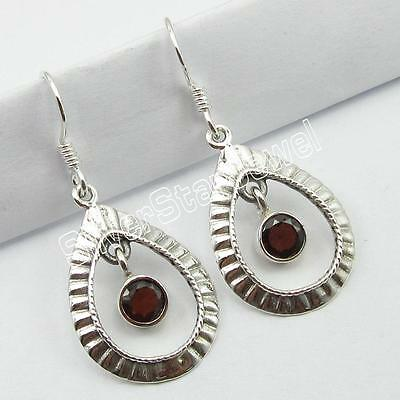"925 Sterling Silver Genuine GARNET Dangle EARRINGS 1.5"" ! Fashion Jewelry"