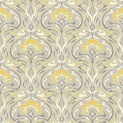 Archives Flora Nouveau Wallpaper Yellow - Crown M1195 Retro Floral New
