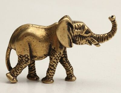 Chinese Old Bronze Hand-Carved Elephant Animal Statue Figurine Crafts Christmas