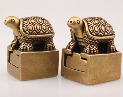2 Unique Chinese Bronze Statue Seal Animal Tortoise Mascot Collection Old Gifts