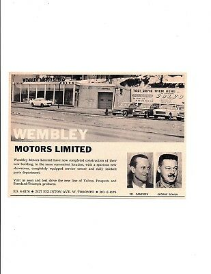 1962 Volvo, Triumph / Wembley Motors Tronto Canada ~ Original Dealer Ad