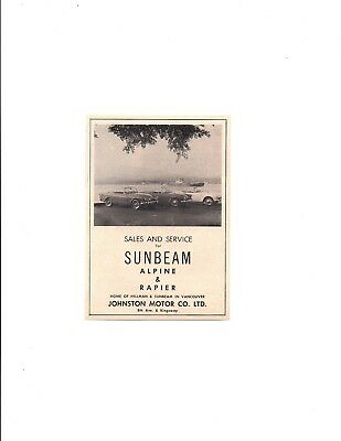 1962 Sunbeam Alpine & Rapier / Johnston Motor Co ~ Original Smaller Dealer Ad