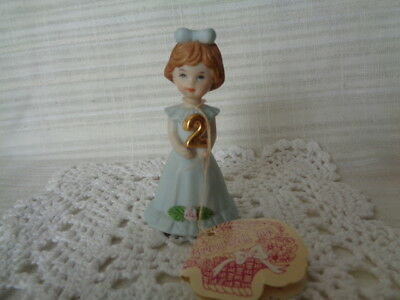 Enesco Growing Up Birthday Girls Ceramic Figurine Age 2 - With Tag