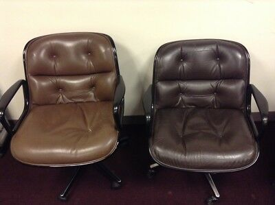 Beautiful Knoll Mid Century Modern Pollock Chair Leather W/ Arms Brown