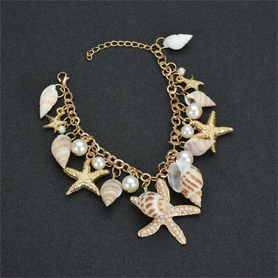 Novelty Bohemian Ocean Tidal Sea Shell Starfish Bracelet Women Charm Jewelry Z