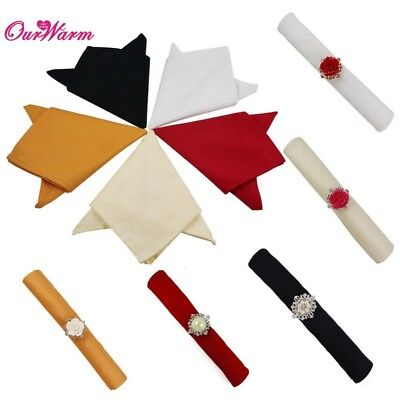 """50×Pure Cotton 12"""" Square Table Linen Napkins Pocket Wedding Party Dinner Cloth"""
