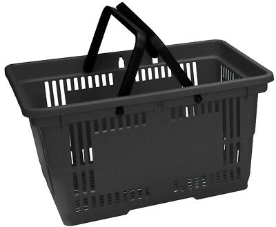 5 x 22L Black Plastic Shopping Baskets with 2 handles (ex display)