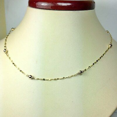 14k solid yellow gold 20'' star link, sparkly, nice station necklace 1.4 grams